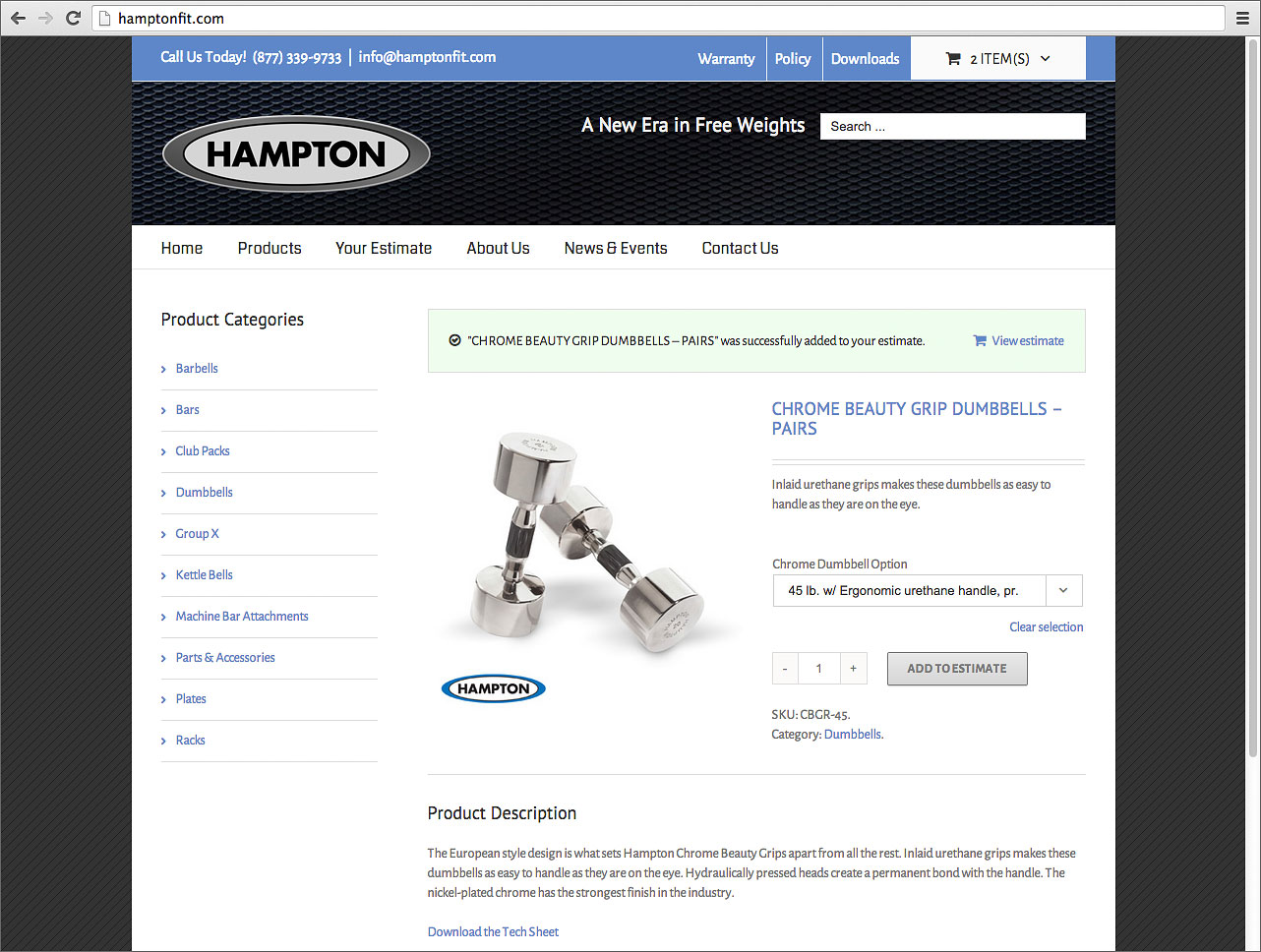 hampton fitness b2b price quote site projects dev button