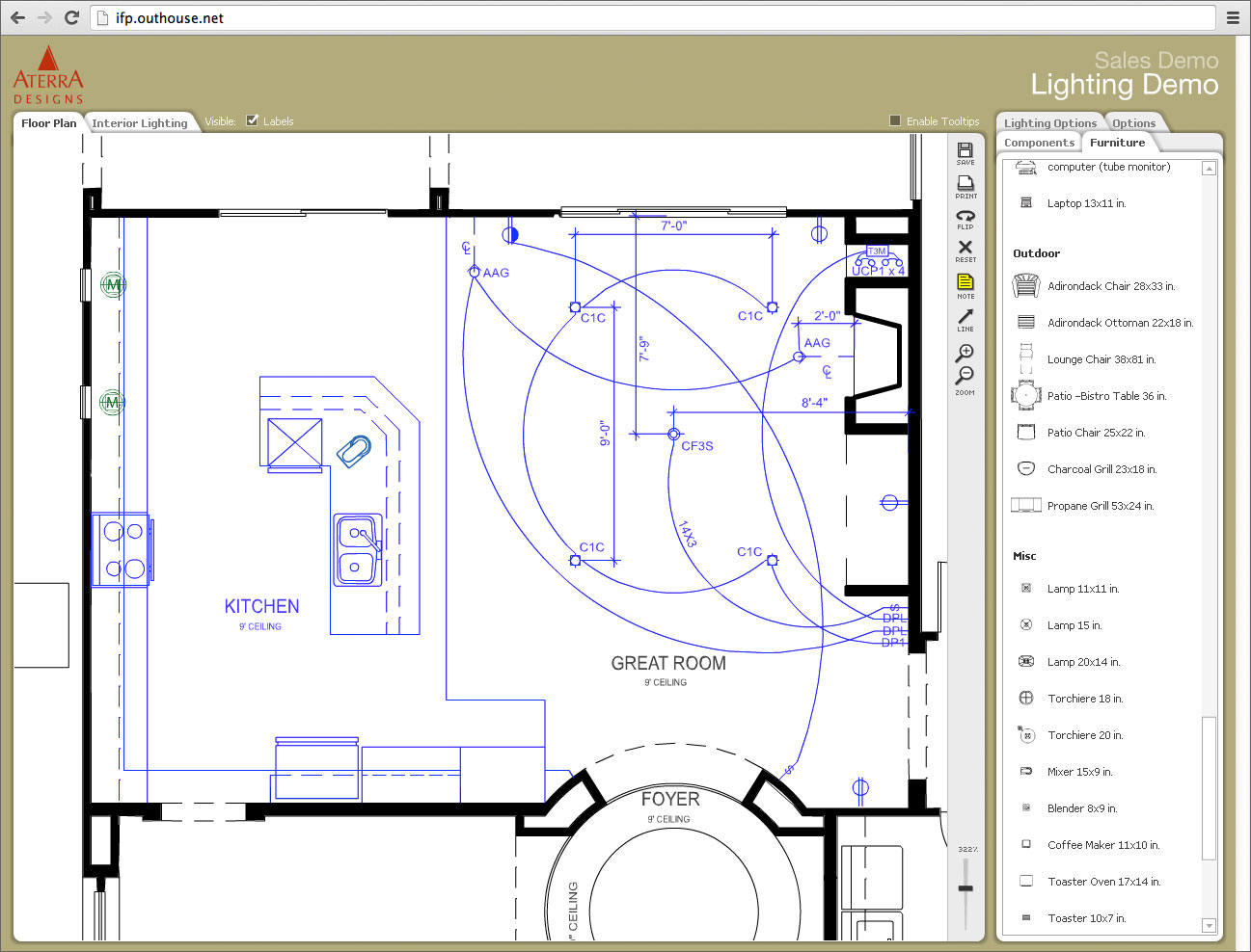 flexible platform permits use for lighting planning visualization electrical symbols can be manipulated with other components - Floor Plan Application